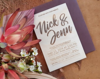 Bohemian Wedding stationery. Wood invitation. Text Design . 10 pack