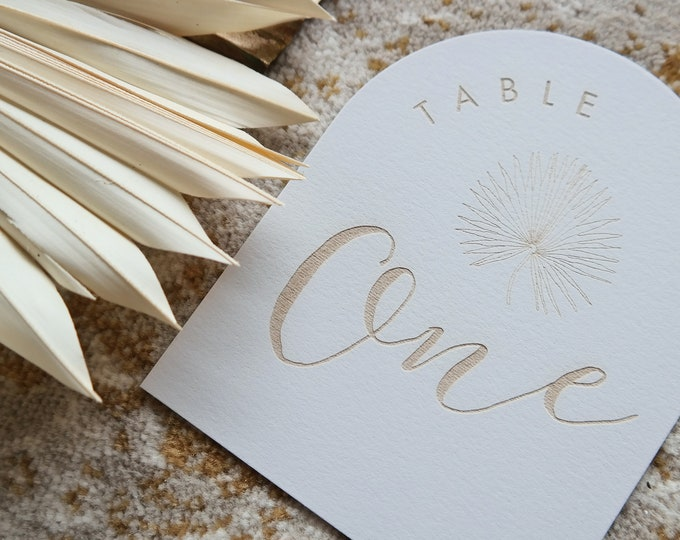 Dome Table numbers - Pandanus Palm wood table numbers