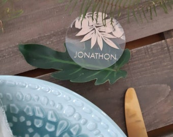 Acrylic Place cards- Round Acrylic tropical palms place cards.