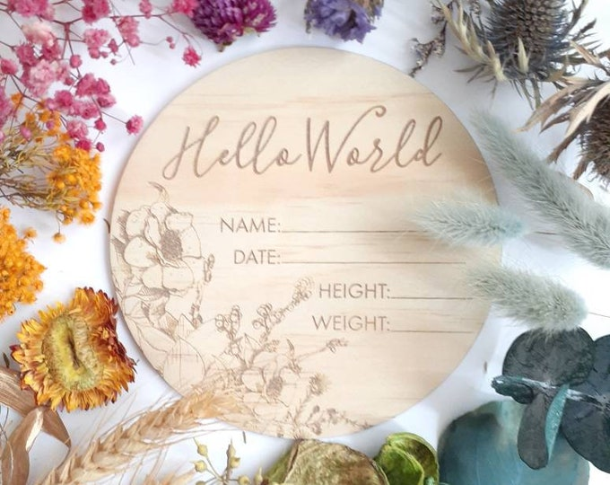 Birth announcement photo prop. Wood birth details disc. Wildflower.