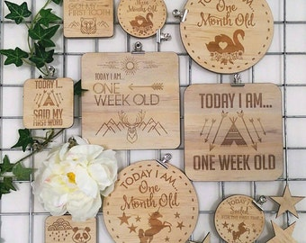 Baby achievement cards. Wood etched baby achievement cards. Small. Ten pack.