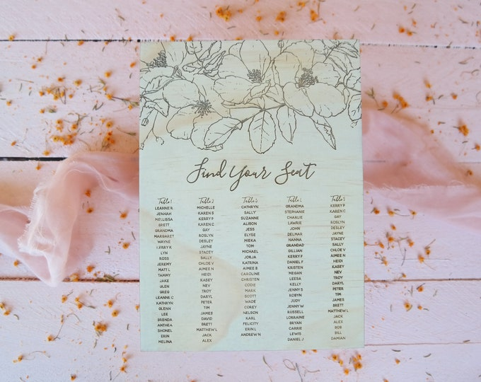 Bloom Seating Chart. Wood Wedding Seating Chart.