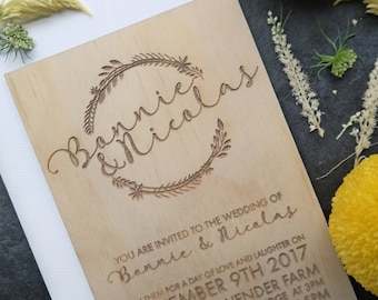 Wedding invitation. Laser engraved wreath wedding invitation. Vines and Motif Designs. 10 pack