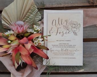 Wood Boho Wedding invitation. Bloom 10 pack