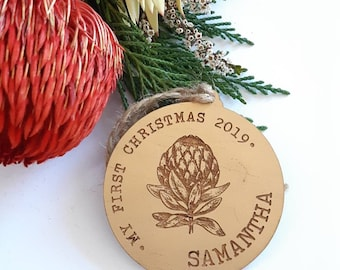 My First Christmas bauble. First Christmas Gift. Gold and Copper. Australian Natives