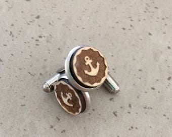 Cufflinks - Timber cufflinks - Laser engraved cufflinks