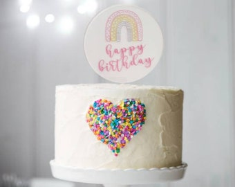Rainbow cake topper. Happy Birthday cake topper. Birthday cake topper.