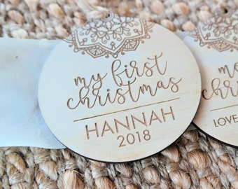Personalised Christmas decorations. Christmas baubles. MY FIRST CHRISTMAS