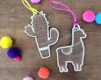 Llama and cactus christmas baubles. Set of 4