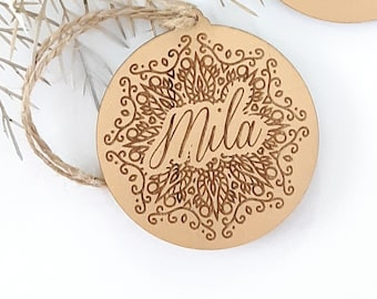 Gold snowflake Christmas decorations. Personalised Christmas baubles.