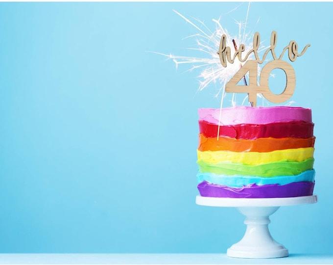 Forty cake topper. 40 cake topper. Wood cake topper. Acrylic cake topper