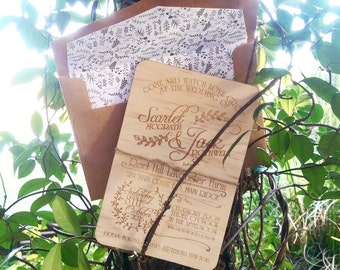 Wood Wedding invitation.  Watch love grow rustic wedding invite. Laser Etched Wooden Invitation. 12cm x 18cm size. 10 Pack