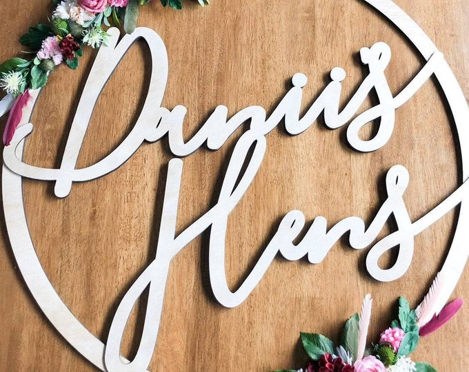 Bridal Shower Decoration - Hens Night Signs - Hoop signs. - Customised timber laser cut hoops