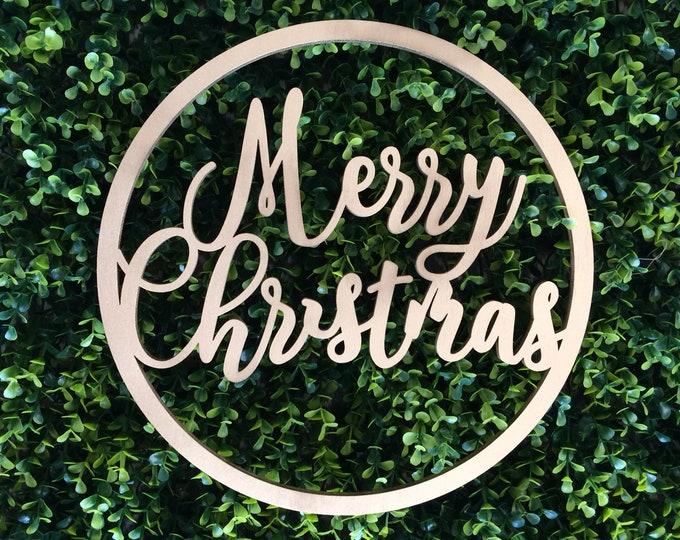 Christmas wreath. Wooden christmas sign