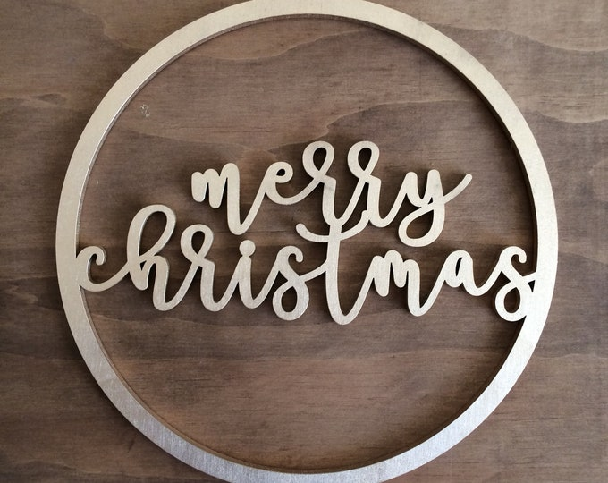 Christmas wreath. Wood christmas signs - small