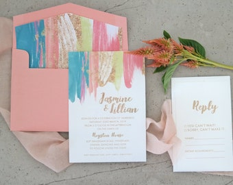 Wedding invitation. Engraved paper invitation. Sorbet stripes - Pack of 10