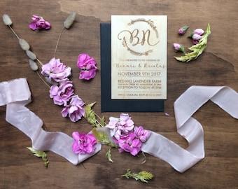 Wedding invitation. Laser engraved botanical wreath wedding invitation. Botanical. 10 pack