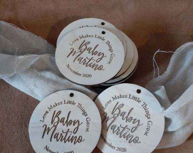 Pregnancy Announcement Tags. Christening tags. Wood tags with custom engraving- 10 Pack