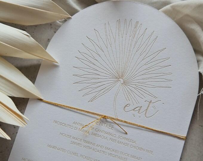 Pandanus Palm Menu Card - Wedding Menu - Dome - Set of 10