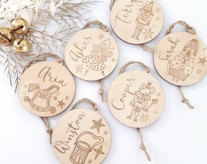 Personalised Christmas decorations. Christmas baubles. Nutcracker