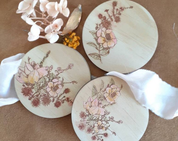 Hand Painted Wooden Coaster Set - Wildflowers - Mothers Day gift - Watercolour