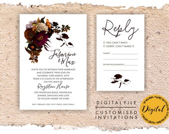 Burgundy wedding invitation - DIY printing - Digital file.