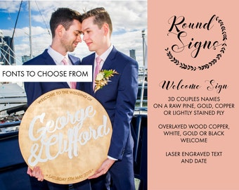 Welcome Sign. Round Wood sign - Wedding Welcome sign