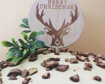 Christmas cake topper. Wooden cake topper. Merry Christmas cake topper
