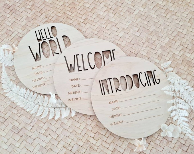 Birth announcement photo prop. Wood birth details disc. CUTOUTS