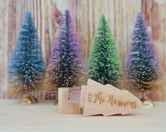Personalised wood USB. Christmas tree USB