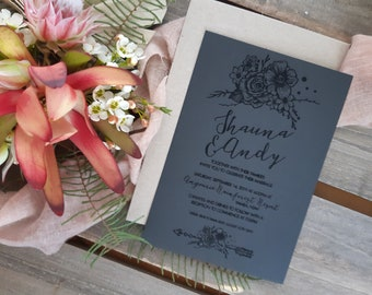 Black wedding stationery - Bohemian floral arrow - Pack of 10