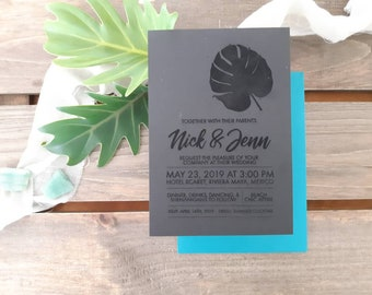 Monstera leaf wedding stationery - Coastal leaf print Paper invitation - Pack of 10