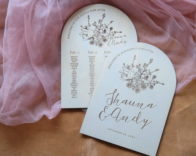Wild Beauty Wedding Sign Pack. Welcome Sign and Seating Chart.