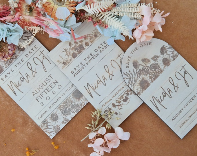 Save the Date Cards - Flower. Natives. Set of 10