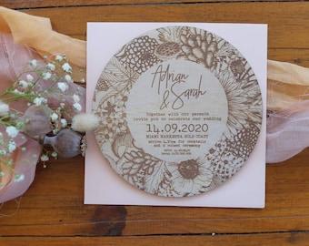 Botanical florals wedding invitation. Round Wedding Invitation. Wood invite. 10 pack