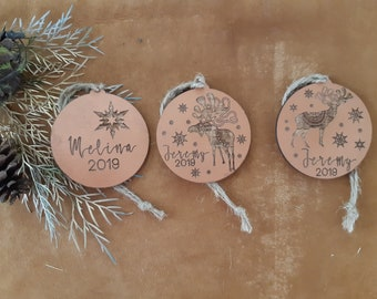 Copper christmas decorations - Nordic Personalised Christmas decorations.