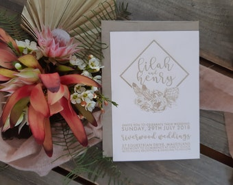 Blush wedding stationery - Geometric Bohemian Florals - Pack of 10