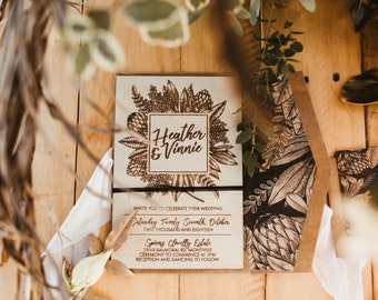 Wood invitation.  Rustic country wedding invitation. Australian Natives Box set. 12cm x 18cm size. 10 Pack