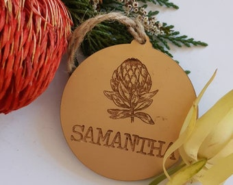 Australian Christmas. Personalised Christmas decorations. Copper