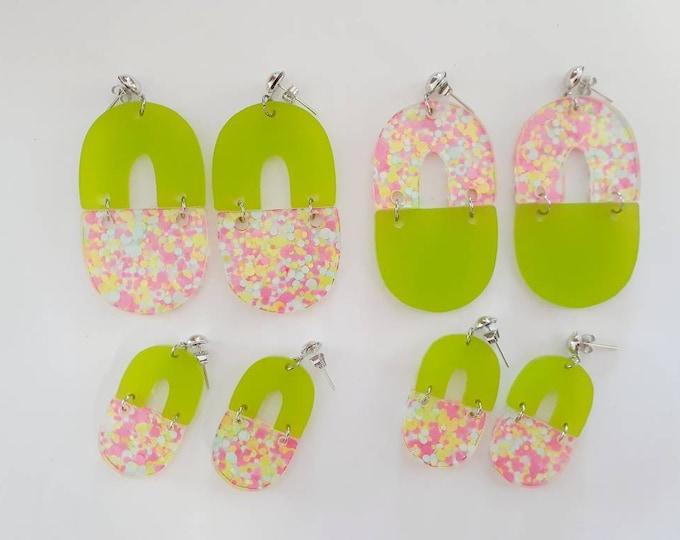 Glitter Earring - Acrylic Earring - Domes