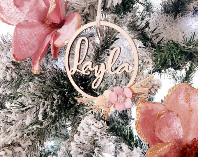 Christmas Decoration. Hoop Bauble. Flower Wreath