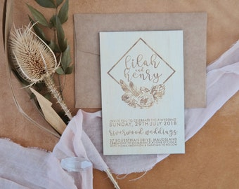 Bohemian Wedding Invitation. Wood invitation. Geometric Flowers. 10 pack