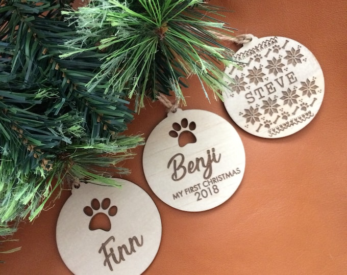 Dog baubles.  Christmas decorations. Christmas Pups.