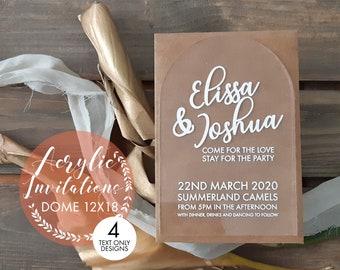 Acrylic wedding invitation, Dome. Arch. Wedding stationery. 12x18cm  Pack of 10