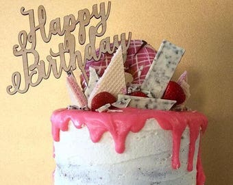 Happy Birthday Cake Topper - Raw Wood