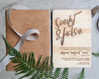 Wood wedding invitation. Laser engraved wood wedding invitation. 10 pack