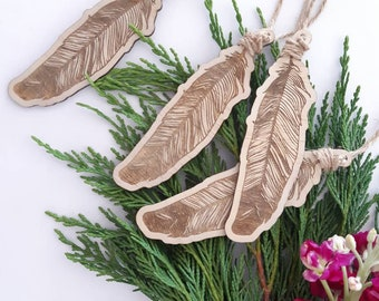 Feather christmas decorations. Boho christmas bauble. Set of 4