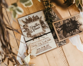 Wood invitation.  Rustic country wedding invitation. Australian Natives Box set. 10X15CM size. 10 Pack