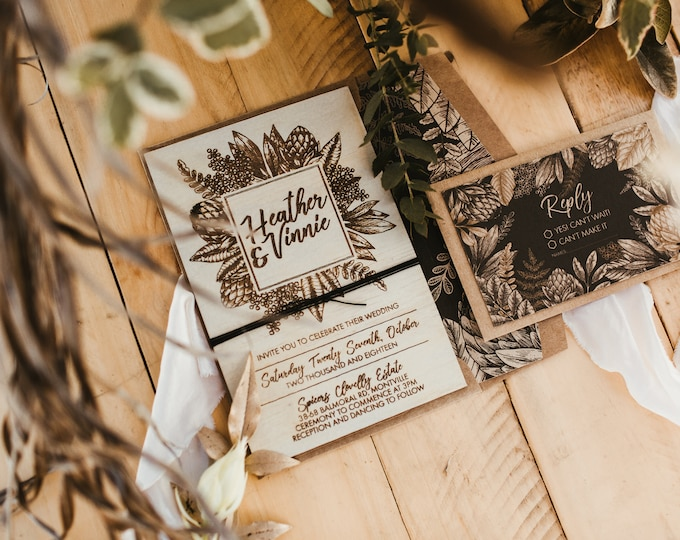 Featured listing image: Wood invitation.  Rustic country wedding invitation. Australian Natives Box set. 10X15CM size. 10 Pack