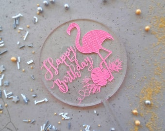 Flamingo cake topper. Acrylic or wood cake topper. Party cake topper.